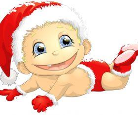 Baby vector wearing christmas hat