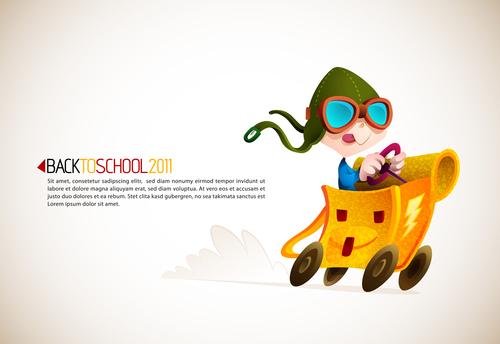 Back to school cartoon illustration vector