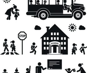 Back to school people pictograms vector