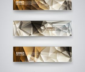Banners brown polygonal vector