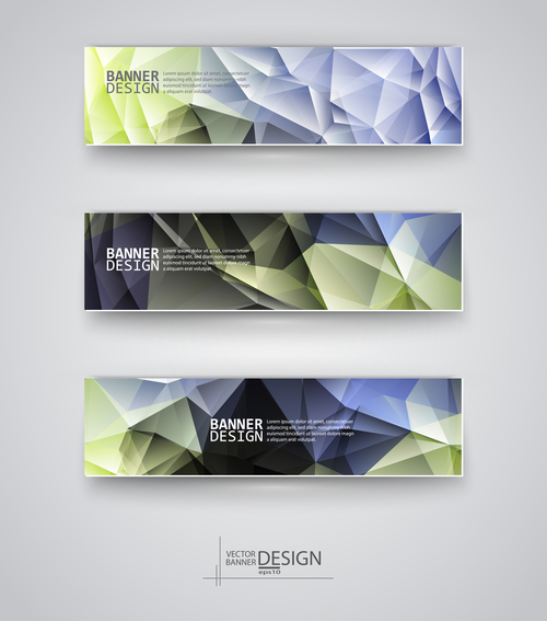 Banners multicolored polygonal vector