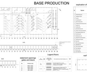Base production building construction sketch vector