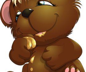 Bear cartoon vector eating honey
