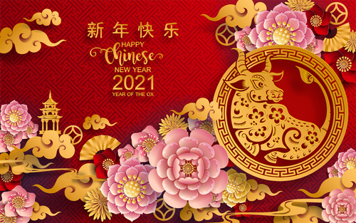 Beautiful Chinese New Year Greeting Card Vector