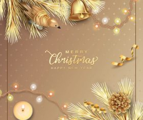 Beautiful Christmas and New Year greeting card vector