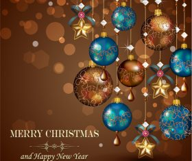 Beautiful Christmas tree decorations vector