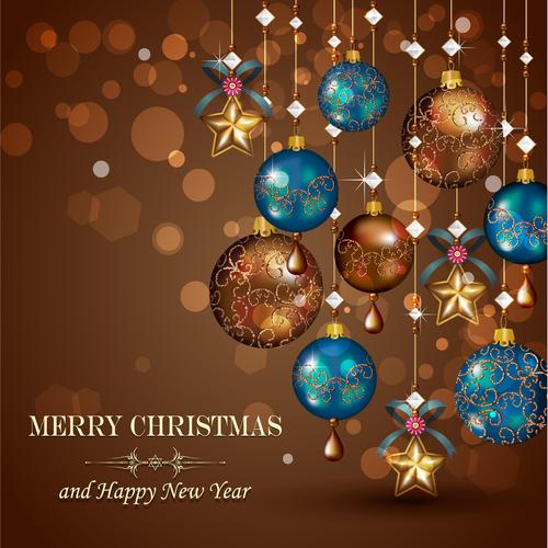 Beautiful Christmas tree decorations vector