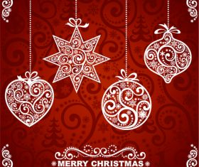 Beautiful christmas greeting card cover vector