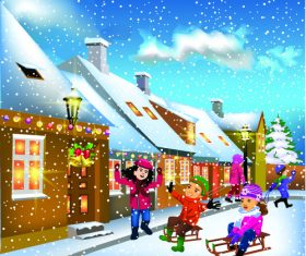 Beautiful christmas night cartoon illustration vector