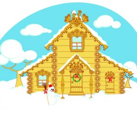 Beautiful house decorated for christmas vector