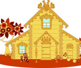 Beautiful wooden house vector
