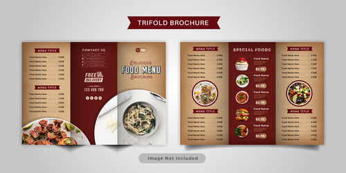 Beautifully designed food trifold brochure vector