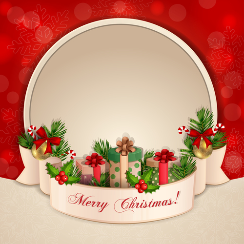 Beige and red christmas card vector