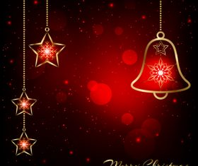 Bells and twinkling stars christmas card vector