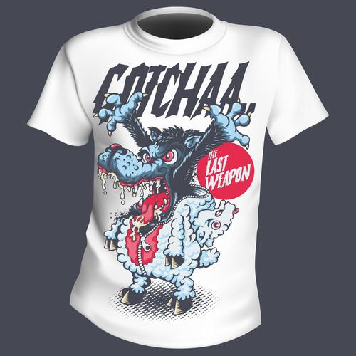 Big bad wolf t shirt printing pattern design vector