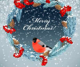 Bird on Christmas Wreath Vector