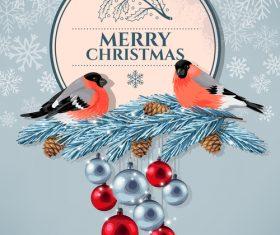 Bird on pine branch Christmas card vector