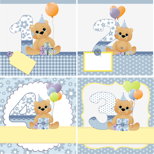 Birthday card and number vector
