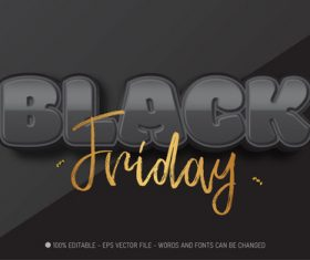 Black 3d editable text style effect vector