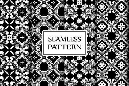 Black baroque style seamless background vector