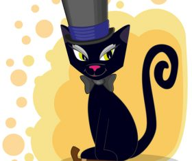 Black cat gentleman cartoon vector