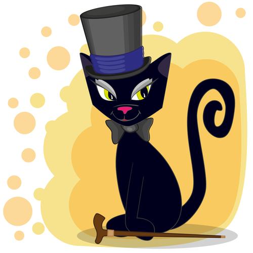 Black cat gentleman cartoon vector