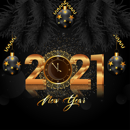 Black decorative background and golden 2021 vector