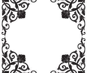 Black flower frame vector
