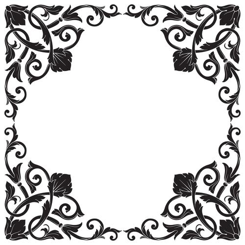 Black flower frame vector