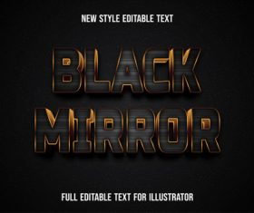 Black font with gold edge text style effect vector