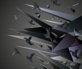 Black paper crane 3D background vector