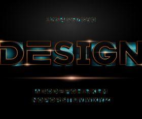 Black shiny 3d editable text vector