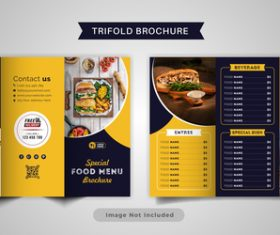 Black yellow trifold brochure food menu vector