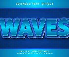 Blue 3d editable text style effect vector