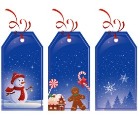 Blue Christmas label card vector