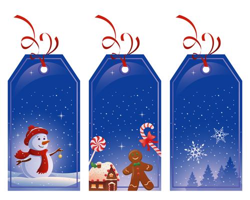Blue Christmas label card vector
