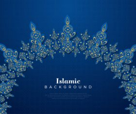 Blue background and flower Islamic classic decoration background vector