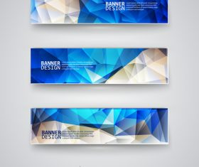 Blue beige polygonal banner vector