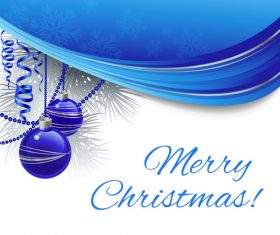 Blue colorful balls christmas tree decoration vector