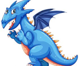 Blue dinosaur cartoon vector