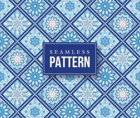 Blue hand drawn mandalas seamless pattern vector