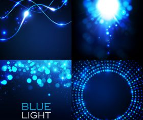 Blue light effect vector set
