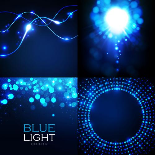 Blue light effect vector set