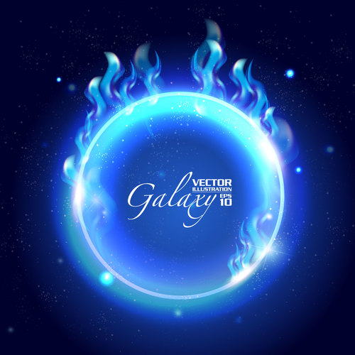 Blue sphere and blue flame background vector