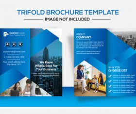 Blue trifold business brochure design vector