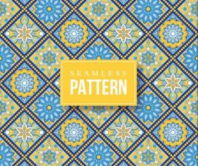 Blue yellow hand drawn mandala seamless pattern vector