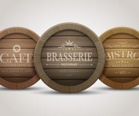 Brasserie wooden label vector