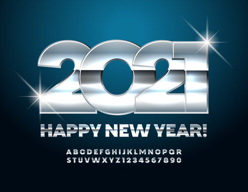 Bright silver 2021 number vector