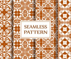 Brown baroque seamless background pattern vector
