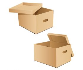 Brown goods storage box vector